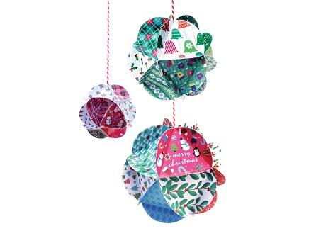 3 boules de no l en papier a creer oxybul nos bambins - Creer des boules de noel ...